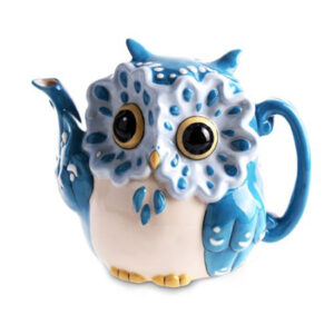 Collectable Novelty Kitchen Teapot BLUE SKY BLUE OWL China Tea Pot New