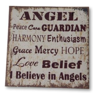French Country Stretched Canvas Print ANGEL PEACE GUARDIAN 20x20cm New