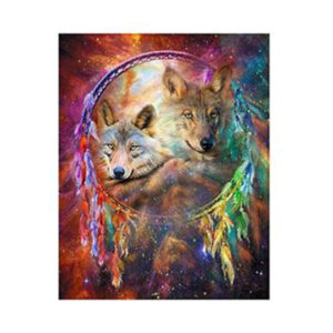5D Diamond Painting Full Image Square Drills DREAMCATCHER WOLVES 20x25cm New