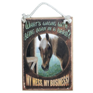 Country Printed Quality Wooden Sign My Mess My Business Horse Hanging Plaque New