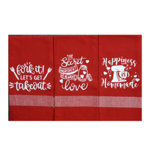 Set of 3 New Tea Towels Kitchen Sayings RED 3 Handmade Teatowels Happiness is Homemade