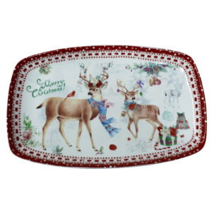French Country Chic Kitchen Elegant Serving Plate CHRISTMAS REINDEER New