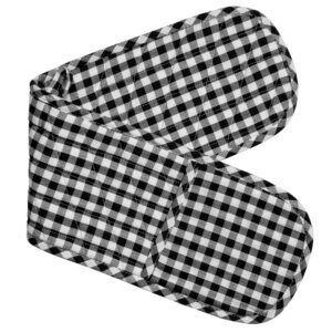 Gingham Check Kitchen Double Oven Gloves BLACK CHECK Pot Holder Mitts New