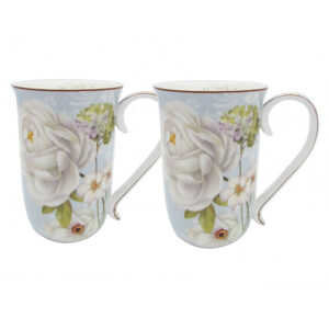 French Country Chic Kitchen 405mm Tea Coffee Mugs WHITE ROSE Set of 2 New