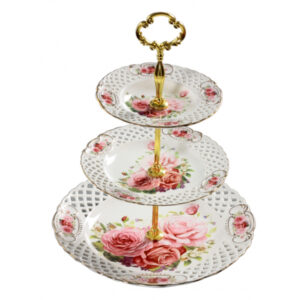 French Country Chic Kitchen Elegant Serving 3 Tier Cake Stand PINK ROSE New Giftboxed