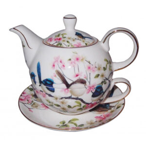 French Country Lovely Teapot Australian BLUE WREN TEA FOR ONE with Gift box New