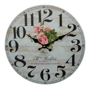 Clock French Country Vintage Wall Hanging 34cm LA FLEUR ROSES New