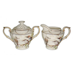 French Country Chic China Kitchen KOOKABURRA Sugar and Creamer Milk Set New