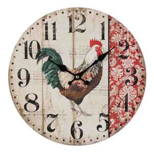 Clock French Country Vintage Wall Hanging 34cm RED ROOSTER Boards New