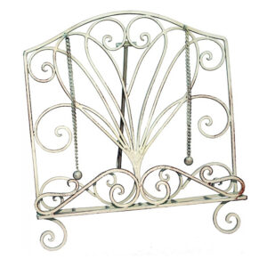 French Country Vintage Kitchen Wrought Iron CURL WHITE Recipe Book Holder New