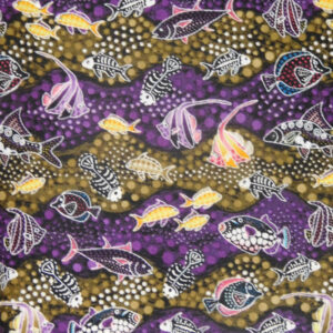 Patchwork Quilting Sewing Fabric WAY UNDER FISH PURPLE 50x55cm FQ New