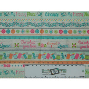 Patchwork Quilting Sewing Fabric MY HAPPY PLACE Allover 50x55cm FQ New