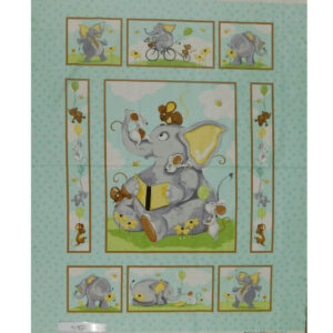 Patchwork Quilting Sewing Fabric SUSYBEE ELEPHANTS Panel 90x110cm New
