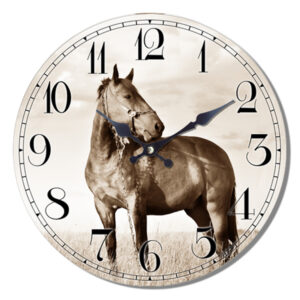 Clock French Country Vintage Wall Hanging HORSE SEPIA TONES Time 29cm New
