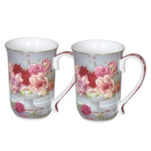French Country Chic Kitchen 405mm Tea Coffee Mugs SERENITY ROSE Set of 2 New