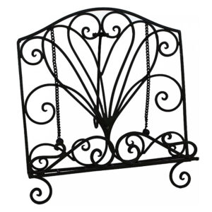 French Country Vintage Kitchen Wrought Iron CURL BLACK Recipe Book Holder New