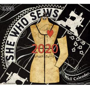 2020 Lang Calendar SHE WHO SEWS by Janet Wecher Frisch New Calender Fits Wall Frame