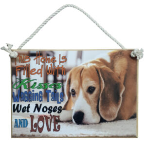 Country Printed Quality Wooden Sign DOG PUPPY KISSES LOVE Plaque New