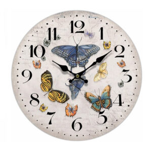 Clock French Country Vintage Wall Hanging 34cm MULTI BUTTERFLIES New