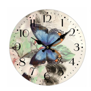 Clock French Country Vintage Wall Hanging 34cm BLUE BUTTERFLY New