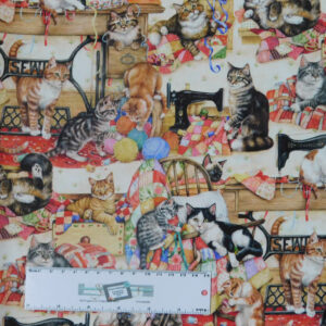 Quilting Patchwork Sewing Fabric SEWING CATS 50x55cm FQ Material New