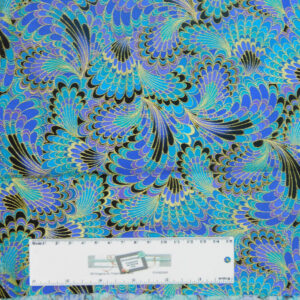 Quilting Patchwork Sewing Fabric PEACOCK PLUMES METALLIC 50x55cm FQ Material New