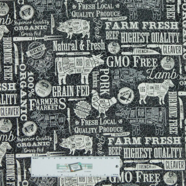 Quilting Patchwork Sewing Fabric FARM TO TABLE BLACK 50x55cm FQ Material New