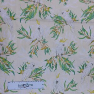 Quilting Patchwork Sewing Fabric COCKATOO and GUM LEAVES 50x55cm FQ New