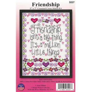 Cross Stitch FRIENDSHIP X Stitch with Aida Fabric New Kit Including Threads