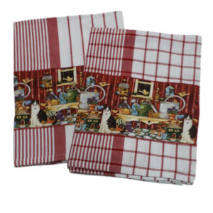 Country Style New Tea Towels Set of 2 CATS RED CHECK STRIPE Teatowels New