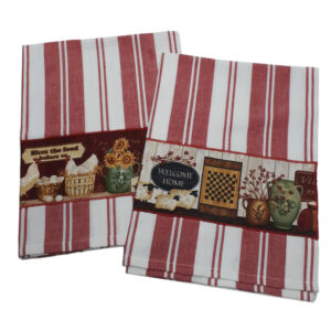 Country Style New Tea Towels Set of 2 RED WELCOME HOME Teatowels New