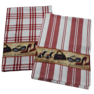 Country Style New Tea Towels Set of 2 SHOES RED Teatowels New