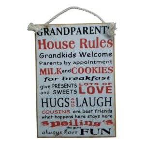 Country Printed Quality Wooden Sign GRANDPARENTS HOUSE RULES New Plaque