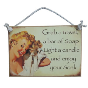 Country Printed Quality Wooden Sign BATHROOM ENJOY YOUR SOAK Plaque New