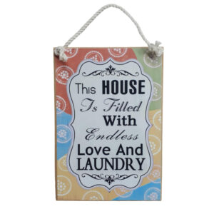 Country Printed Quality Wooden Sign House LOVE LAUNDRY Plaque New