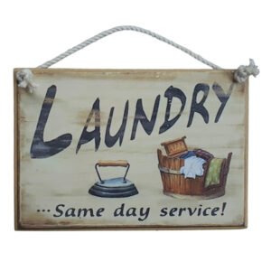 Country Printed Quality Wooden Sign LAUNDRY SAME DAY SERVICE Plaque New