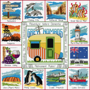 Country Threads Cross Stitch GREY NOMADS Australian Icons Pattern New FJP4002 (CT)