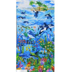 Patchwork Quilting Sewing Fabric WHALE OF A TIME Panel 60x110cm New