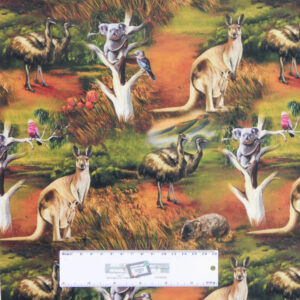 Quilting Patchwork Sewing Fabric AUSTRALIAN WILDLIFE ANIMALS 50x55cm FQ New