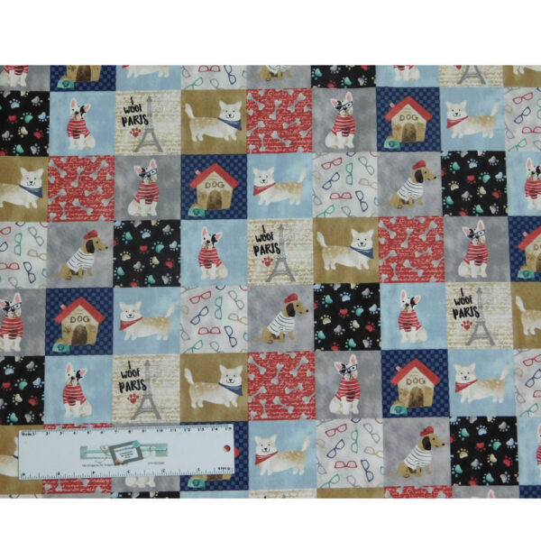 Quilting Patchwork Sewing Fabric I WOOF PARIS DOGS 50x55cm FQ New
