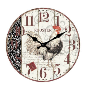 French Country Chic Retro Inspired Wall Clock 17cm COCKEREL ROOSTER New