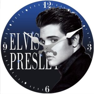 French Country Chic Retro Inspired Wall Clock 30cm ELVIS BLUE New