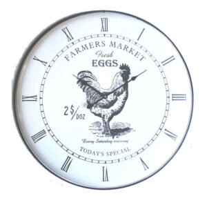 French Country Chic Enamel Wall Clock 62cm FARMERS MARKET HEN New