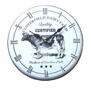 French Country Chic Enamel Wall Clock 62cm CLOVERFIELD COW New