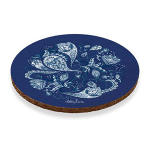 Kitchen Cork Backed Coasters ROUND CHIPPENDALE Set 6 New