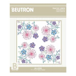 Printed Stamped Embroidery Table Topper ALLIUM 77cm Hand Stitching New