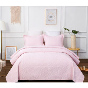 French Country Patchwork Bed Quilt BLUSH PINK King Single New
