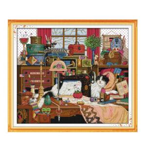 Cross Stitch Kit CAT and SEWING MACHINE X Stitch Joy Sunday Incl Threads New