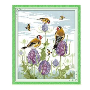 Cross Stitch Kit HAPPY BIRDS X Stitch Joy Sunday Designs Incl Threads New