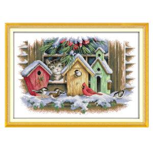 Cross Stitch Kit BIRDHOUSES X Stitch Joy Sunday Designs Incl Threads New